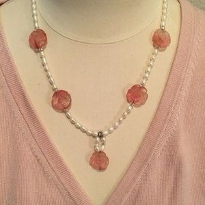 Vintage pearl and pink flower necklace